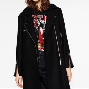 NWT Zara Black Wool Oversized Biker Jacket
